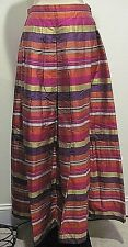 Worth Multi Color Long Pleated 100% Pure Silk Skirt Size PETITE 8
