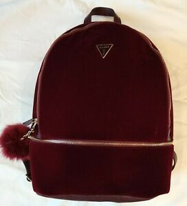 GUESS Backpack RED VELVET Pouf Velour Gold Luxe Glam Cranberry Burgundy School