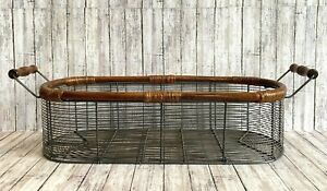 """Metal Wire Basket Wood Handles Farmhouse Oval Shabby 22 3/4"""" Cottage Country"""