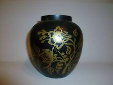 India Vintage Brass Black and Gold Enamel Vase