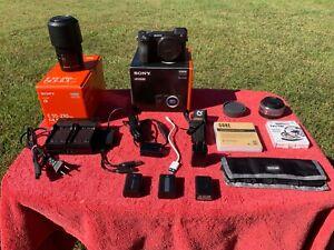 Sony Alpha a6500 24.2MP Digital Camera-NO 30-MIN RECORD LIMIT+Lenses & 3 Batts