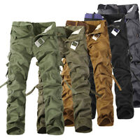 Combat Mens Cotton Military Cargo Pants Work Camouflage ARMY Green Camo Trousers