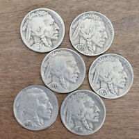Buffalo Nickel Indian Head 5 Cent Good to Extra Fine Condition - Lot of 6