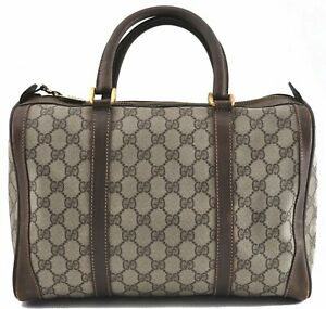 Authentic GUCCI Hand Boston Bag GG PVC Leather Brown 0264A