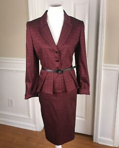 TAHARI Women 2 PC Elegant Red Black Belted Skirt Suit Size 12