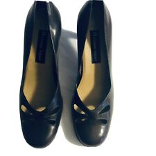 "Etienne Aigner BROWN PATENT Leather Pumps Classic CALVIN Stacked 3"" Heels 8.5"