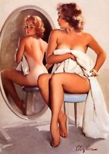 Vintage Sexy Pin-up Blonde Girl PHOTO Boudoir Mirror Legs Art Print Pinup