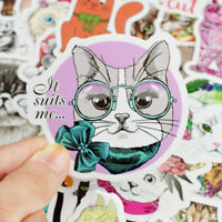 50Pcs/lot Cute Cat Kitten Sticker For Computer Pad Laptop Luggage Skateboard