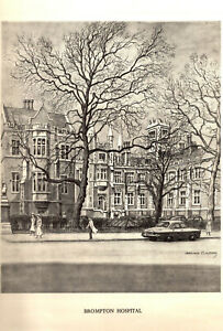 Vintage O/E Print: BROMPTON HOSPITAL - Pencil Drawing after GRAHAM CLILVERD