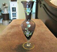 VINTAGE AMETHYST GLASS HAND PAINTED BUD VASE