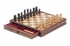 "15"" Classic Wooden Chess & Checker Set Brown & Natural Wooden Board with storage"