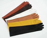 42cm Long Genuine Leather Opera Length Party plain Evening Elbow Gloves