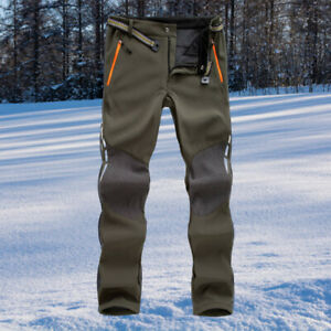 Trousers Water Resistant Lined Fleece Cycling Pants for Men Army Green XXL