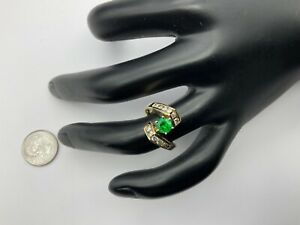 Beautiful 14K Yellow Gold, 1.00+ CTW Emerald And Diamonds Ring Size 6.75, 5.2 Gr