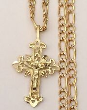 Religious 14k Yellow Gold Jesus Crucifix Cross Pendant Charm Figaro Chain 18inch