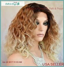 Lace Front Medium Curly Wig Blond 2T27.613  Sassy Sexy Hot  USA Seller 1179