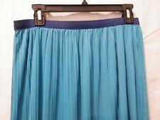 Women's M-L Reversible Asymmetrical Skirt  Navy & Turquoise Textured ElastcWaist
