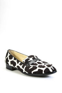 Sarah Flint Womens Rounded Toe Pony Hair Loafers Flats Brown White Size EUR 37