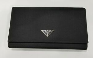 Authentic Prada Black Leather and Nylon Women's Bifold Wallet - Made in Italy