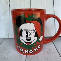 Walt Disney Mickey Mouse  Christmas Wreath Ho Ho Ho Jerry Leigh Red Cup Mug