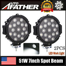 2x 7inch LED Work Light Spot Beam Round Offroad Driving For JEEP SUV ATV Ford