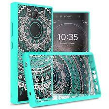 Hybrid Slim Fit Hard Back Cover Phone Case For Sony Xperia L2 - Teal Mandala