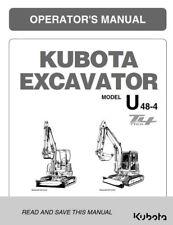 Kubota Excavator u48-4 animal 4 opérateur Manual réimprimés Comb Bound