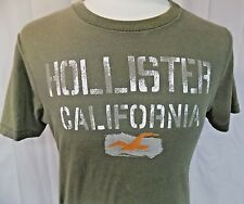 Hollister California Men's Short Sleeve T-Shirt Olive Green Size Medium Cotton