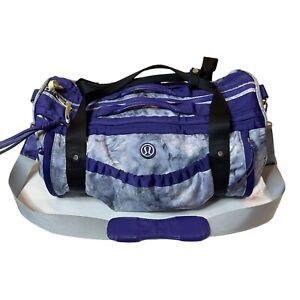 Lululemon Gym Travel Duffle Bag Purple Tie Dye Nylon Multiple Pockets
