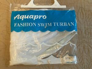 NIP Aquapro White Swim Cap Turban Style Shower Bathing Waterproof Vintage Retro
