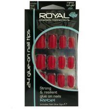 Kit 24 faux ongles rouges et colle 3g Rebel de Royal - 24 red false nails & glue