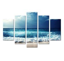 Blue Seascape Beach Sea Waves Painting Canvas Wall Art Poster Print Home Decor 5