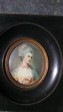 Old miniature portrait. Ancien portrait miniature peinture painting Lady