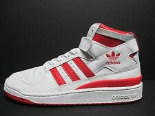 NEW -adidas Originals Forum Mid Refined White Red Sneakers - F37829 - Sz 9.5