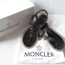 Moncler Jelly Sandals UK 4 EU 37 Black Metal Charm Chain Strap Flip Flops 319001