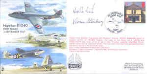 EJA6 Sea Hawk Hawker P1040 signed  test pilot DUKE DSO DFC & Designer STANBURY