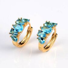 18k Yellow Gold Filled Charming Luxury Women Earrings 16mm Hoops Wedding Jewelry