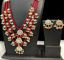 Kundan Indian Bollywood Ethnic Fashion Party Wear Wedding 3 Line Necklace Set