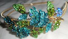 HAPACHICO LUPITA Headband Bud Roses Flower Gold Metal Rhinestones Blue Turquoise