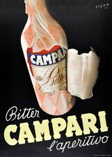 CAMPARI BITTER l'aperitivo, Italia, 1948, 250gsm A3 Poster Art Deco