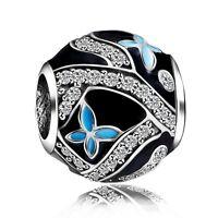 Blue Enamel Butterflies New Silver Bead Fit 925 Sterling European Charm Bracelet