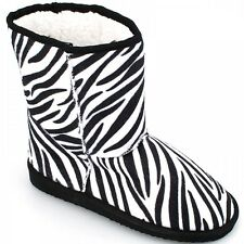 Ladies Womens Soft Zebra Boots Winter Shoes Size 3 4 5 6 7 8 New 2014