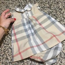3 Months Authentic Burberry Baby Girls Davina Dress Washed Check Bloomers Infant