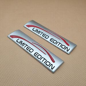 2Pcs Metal Matte Silver LIMITED EDITION Auto Badge Door Trunk Car Emblem Sticker