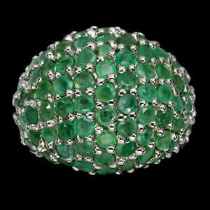 Unheated Round Emerald 3mm 14K White Gold Plate 925 Sterling Silver Ring Size 8