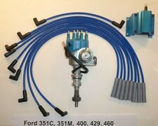 FORD BB 351C/M-400-429-460 BLUE Small HEI Distributor, Coil & SPARK PLUG WIRES