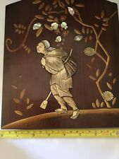 Rare Antique 19th Century Japanese Meiji Shibayama Wooden  Panel