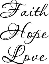 Faith Hope Love Christian wall decal by Bible Verse Wall Art approx 11 x 22