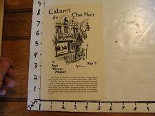 Vintage MARIONETTE Publication: CABARET du CHAT NOIR paris