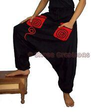 Men Cotton Black Pockets Harem Yoga Pants Women Baggy Boho Hippie Genie Trouser